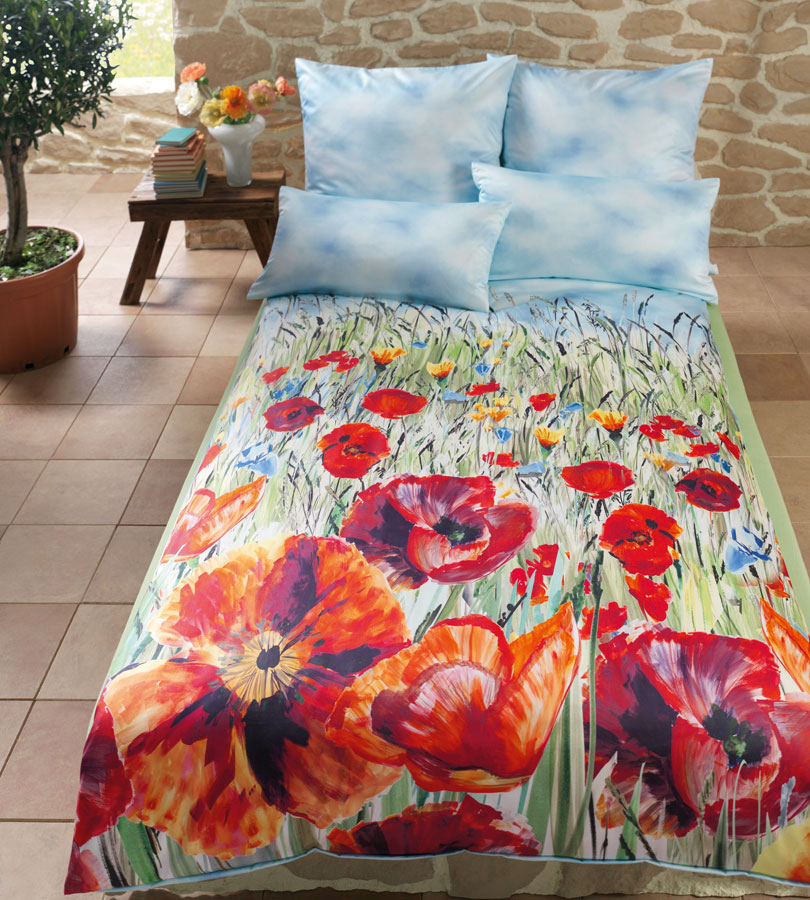 estella mako satin bettw sche papaver 7263 135x200cm ebay. Black Bedroom Furniture Sets. Home Design Ideas