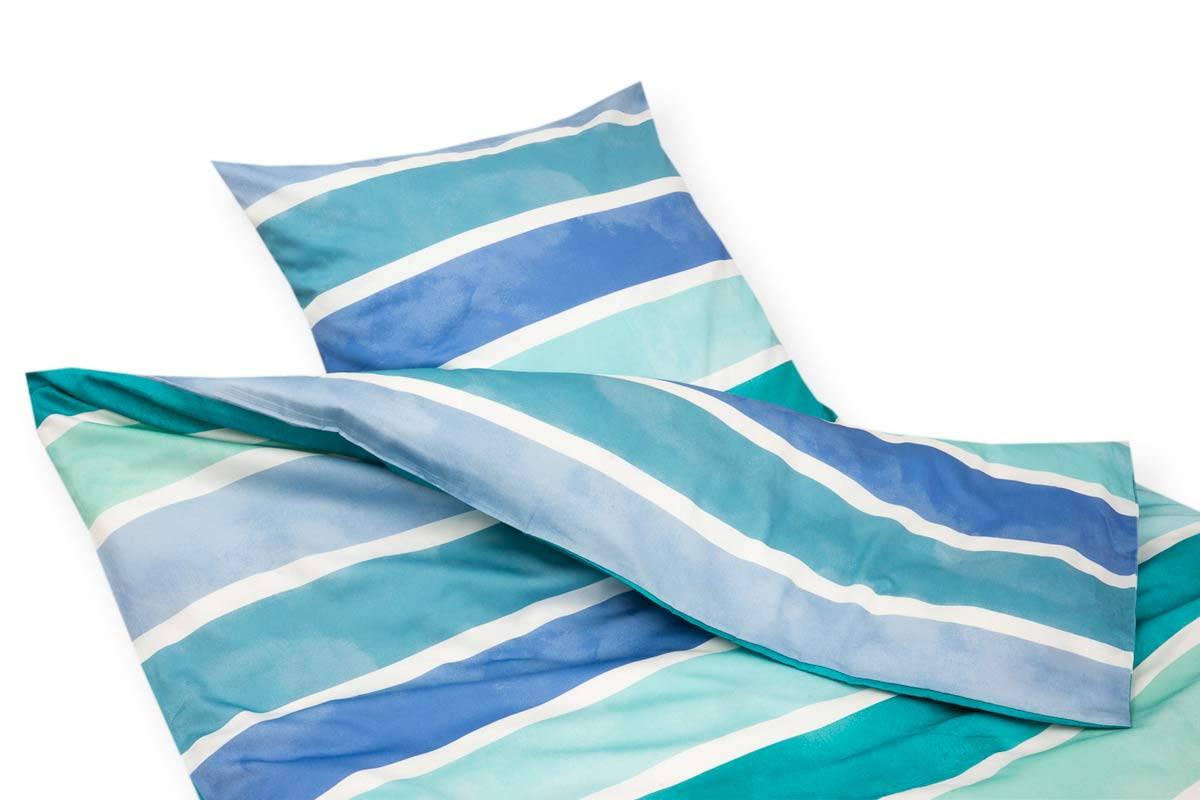 Artikelbildvorschau Covered Maco-Satin-Bettwäsche Rainbow Stripe (760) - aqua